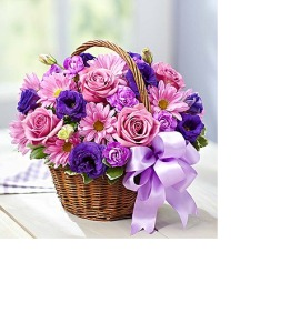 Purple Basket of Blooms