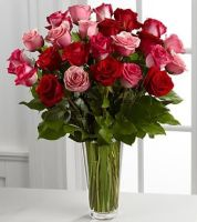 The 2 Dozen Long Stem Pink and Red Rose Bouquet