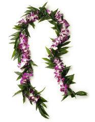 LARGE MAILE TI LEAVE & ORCHID LEI