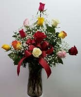 DOZ MIXED COLOR ROSES ARRANGED
