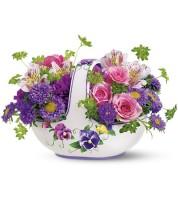 Vintage Hand Painted Ceramic Basket Bouquet
