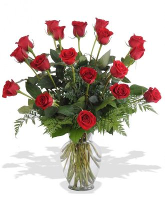 18 Red Roses in a Vase