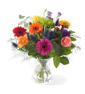 Mixed Colours Bouquet - Exclusive Vase