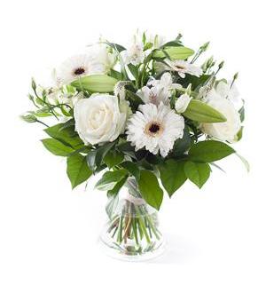 White Mixed Bouquet - Exclusive Vase