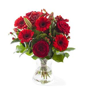 Red Mixed Bouquet - Exclusive Vase