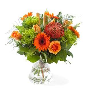 Orange Mixed Bouquet - Exclusive Vase