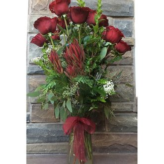 Dozen Long Stem Roses and Flame Tip Leucodendron