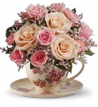 Teleflora\'s Victorian Teacup Bouquet