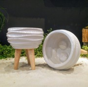 Small White Ridge Planter
