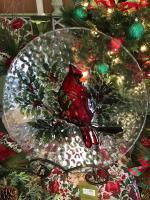 Christmas Cardinal Birdbath