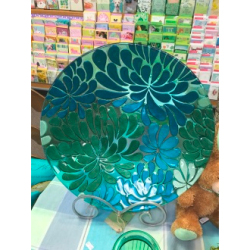 Blossoms Glass Birdbath