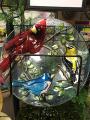 Bold Cardinal Birdbath