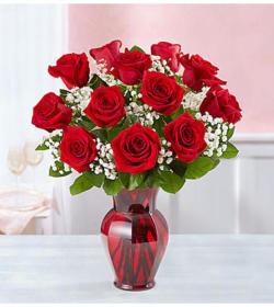 Red on Red Rose Vase