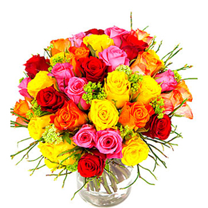 Colorful Bouquet of Short Roses