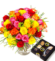 Colorful Bouquet of Short Roses + Chocolate 100g