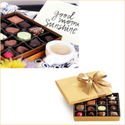 Assorted Chocolate Gold Gift Box, Classic Ribbon, 19