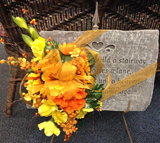 Memorial Stone with Silk Flowers