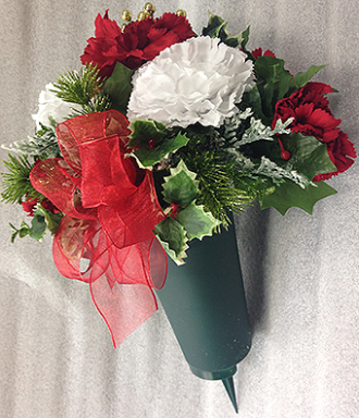 Christmas Silk Flowers in Cone
