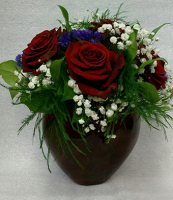 Red Roses in Glass Red Heart Vase