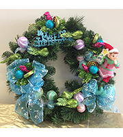 Christmas Wreath with Blue Bows