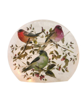 Beautiful Romance Birds Pre-Lit Small Round Orb