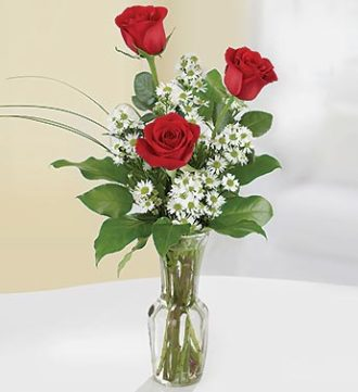 3 Red Rose Bud Vase
