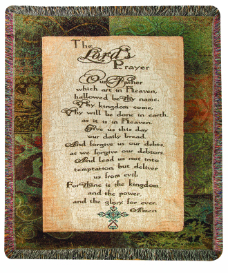 COMFORT THROW- LORD\'S PRAYER WITH CROSS