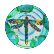 GLASS BIRDBATH: FLUTTERING DRAGONFLY 2GB1170