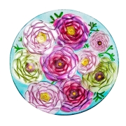 GLASS BIRDBATH: FLOWERS 2GB679