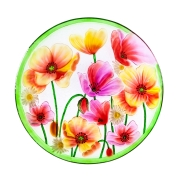 GLASS BIRDBATH: POPPIES  2GB680