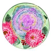 GLASS BIRDBATH: CABBAGE ROSE- PEBBLE GLASS 2GB720