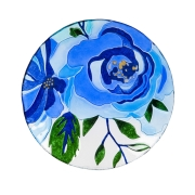 GLASS BIRDBATH-BLUE FLORAL 2GB748