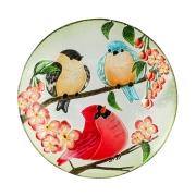 GLASS BIRDBATH- Birds Trio 2gb761