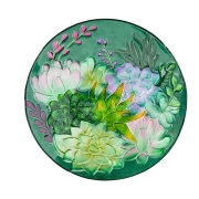 GLASS BIRDBATH-Aqua Succulent  2GB762