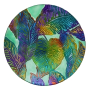 GLASS BIRDBATH-Tropical Palm Leaves 2GB839