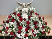 CASKET COVER- ANGEL WITH RED & WHITE