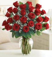 25 GORGEOUS RED ROSES IN VASE
