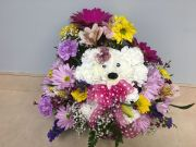 DOGGY BASKET OF FLOWERS