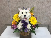 KITTY-CAT BASKET OF FLOWERS