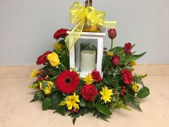 LANTERN WITH CANDLE &  RED & YELLOW FLOWERS