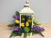 LANTERN- OPEN CREAM WITH FLOWERS