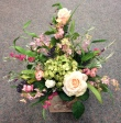 Silk Arrangement with pink and green flowers