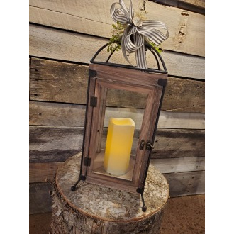 Brown Wood Rectangle Lantern