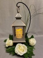 Comfort Lantern with Greenery and Fresh Flowers