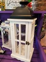 White Wooden lantern with black detail