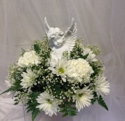 Keepsake Angel with Fresh Flowers