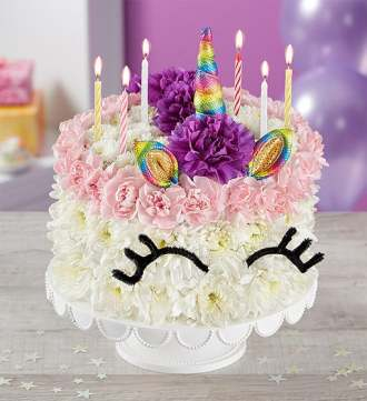 1-800-Flowers Birthday Wishes Flower Cake Unicorn