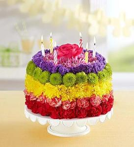 BLM Birthday Wishes Flower Cake Rainbow