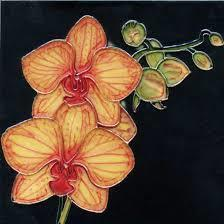 Continental Art Yellow Orchid Ceramic Tile