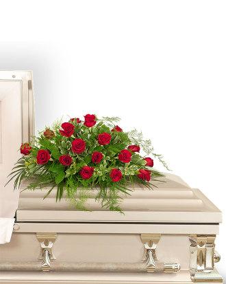 18 Red Roses Casket Spray